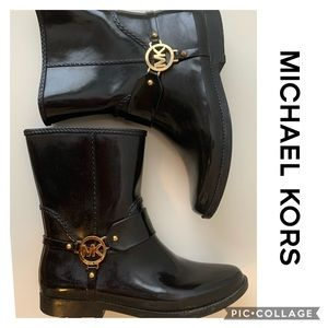 Michael Kors Fulton Harness Rain Boot Low Black 10
